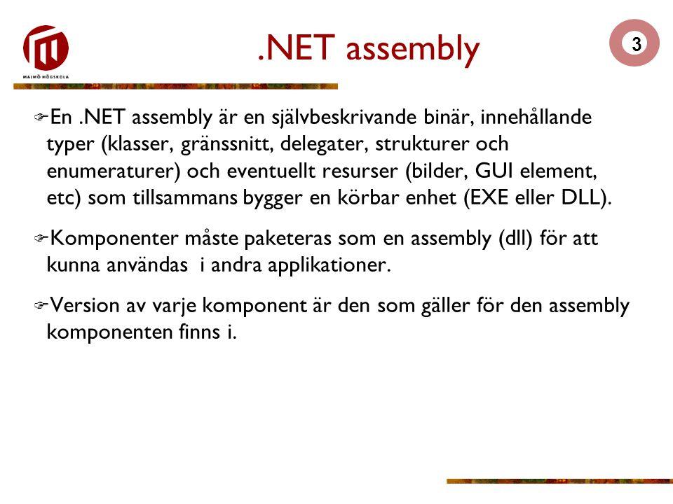 4 Manifest  Varje assemblyfil innehåller information om sig själv.