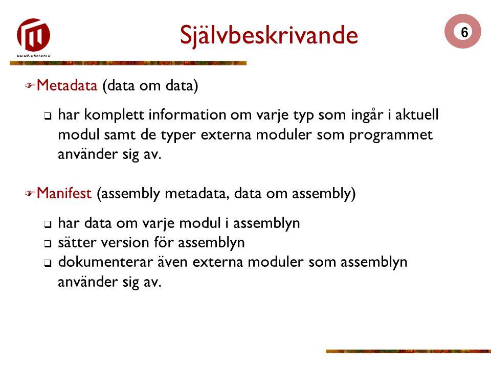 6 Självbeskrivande  Metadata (data om data)  har komplett information om varje typ som ingår i aktuell modul samt de typer externa moduler som programmet använder sig av.