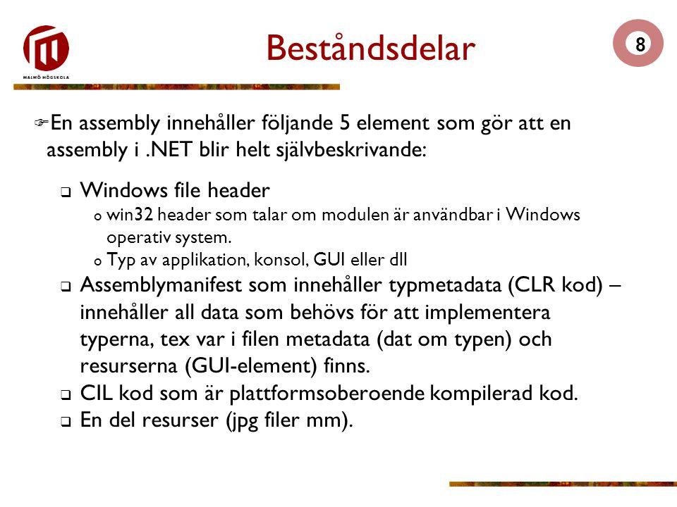 8 Beståndsdelar  En assembly innehåller följande 5 element som gör att en assembly i.NET blir helt självbeskrivande:  Windows file header o win32 header som talar om modulen är användbar i Windows operativ system.