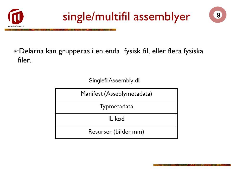 9 single/multifil assemblyer  Delarna kan grupperas i en enda fysisk fil, eller flera fysiska filer.