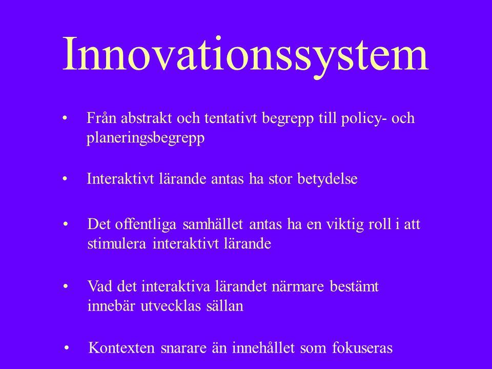 Innovationssystem Från abstrakt och tentativt begrepp till policy- och planeringsbegrepp Interaktivt lärande antas ha stor betydelse Det offentliga samhället antas ha en viktig roll i att stimulera interaktivt lärande Vad det interaktiva lärandet närmare bestämt innebär utvecklas sällan Kontexten snarare än innehållet som fokuseras
