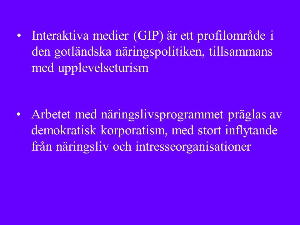 Interaktiva medier (GIP) är ett profilområde i den gotländska näringspolitiken, tillsammans med upplevelseturism Arbetet med näringslivsprogrammet präglas av demokratisk korporatism, med stort inflytande från näringsliv och intresseorganisationer