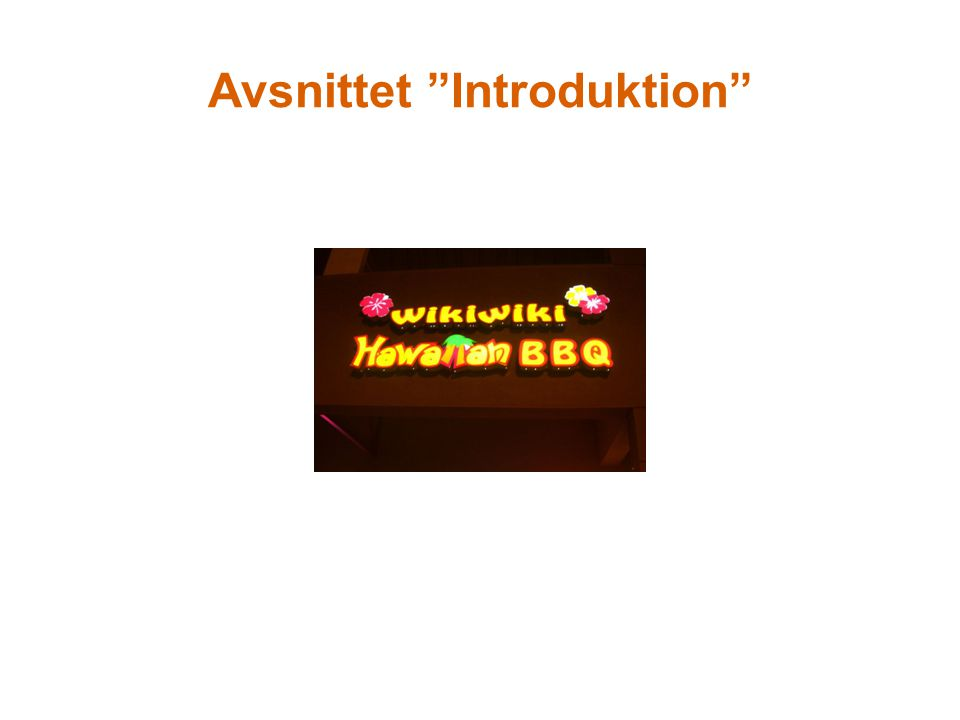 Avsnittet Introduktion