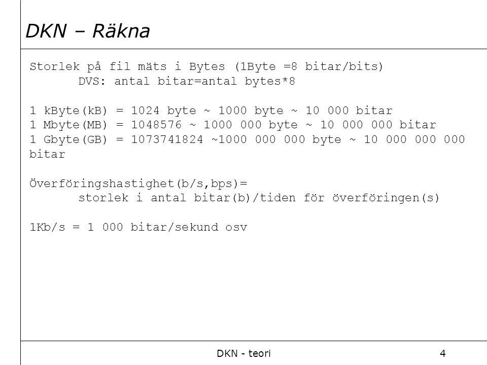 DKN - teori4 Storlek på fil mäts i Bytes (1Byte =8 bitar/bits) DVS: antal bitar=antal bytes*8 1 kByte(kB) = 1024 byte ~ 1000 byte ~ 10 000 bitar 1 Mbyte(MB) = 1048576 ~ 1000 000 byte ~ 10 000 000 bitar 1 Gbyte(GB) = 1073741824 ~1000 000 000 byte ~ 10 000 000 000 bitar Överföringshastighet(b/s,bps)= storlek i antal bitar(b)/tiden för överföringen(s) 1Kb/s = 1 000 bitar/sekund osv DKN – Räkna