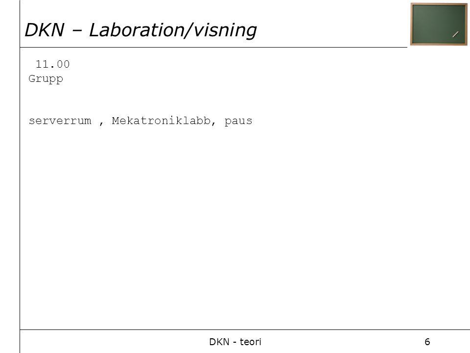 DKN - teori6 11.00 Grupp serverrum, Mekatroniklabb, paus DKN – Laboration/visning