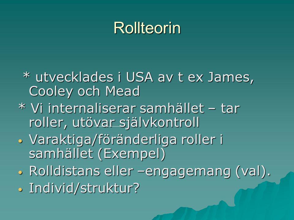 Rollteorin * utvecklades i USA av t ex James, Cooley och Mead * utvecklades i USA av t ex James, Cooley och Mead * Vi internaliserar samhället – tar r