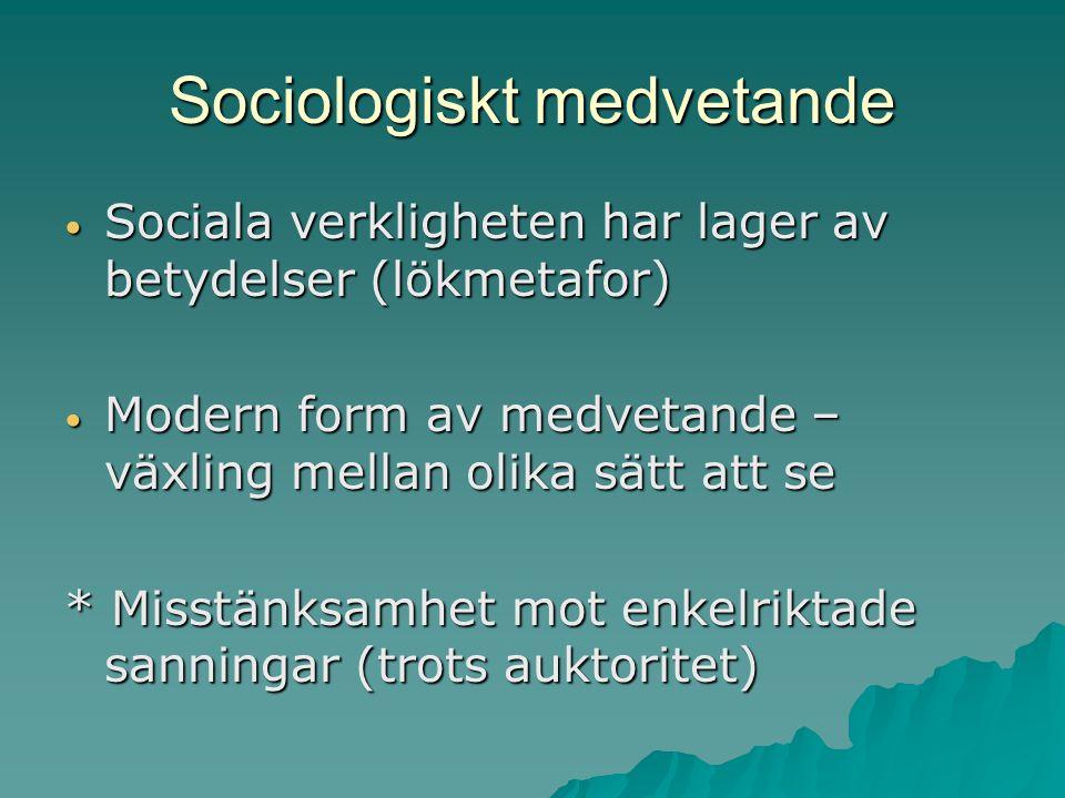 Sociologiskt medvetande Sociala verkligheten har lager av betydelser (lökmetafor) Sociala verkligheten har lager av betydelser (lökmetafor) Modern for