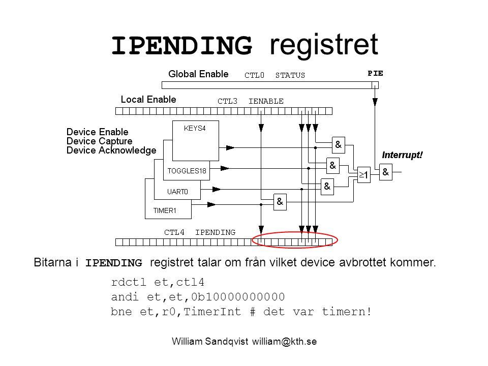 William Sandqvist william@kth.se IPENDING registret Bitarna i IPENDING registret talar om från vilket device avbrottet kommer. rdctl et,ctl4 andi et,e