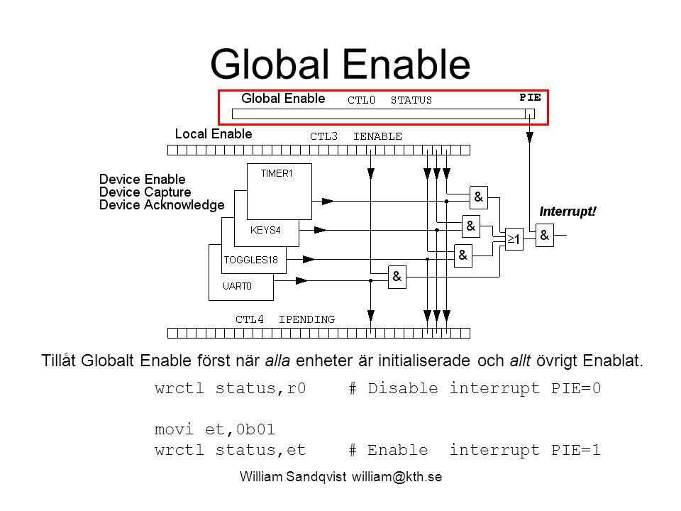 William Sandqvist william@kth.se Global Enable Tillåt Globalt Enable först när alla enheter är initialiserade och allt övrigt Enablat.