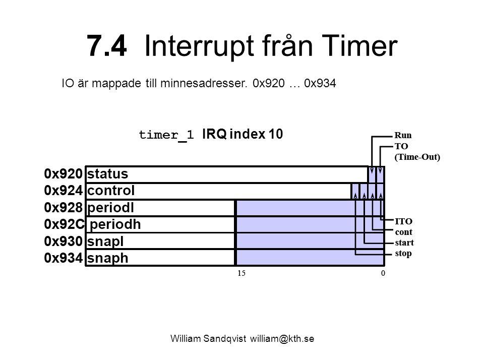 William Sandqvist william@kth.se 7.4 Interrupt från Timer IO är mappade till minnesadresser. 0x920 … 0x934 timer_1 IRQ index 10