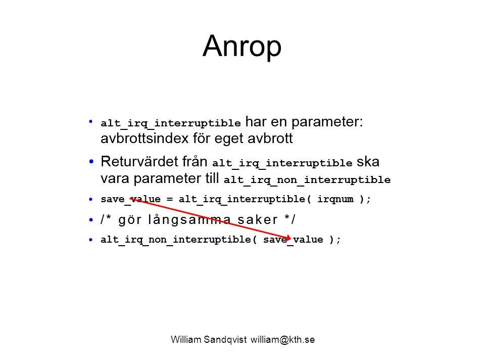 William Sandqvist william@kth.se Anrop