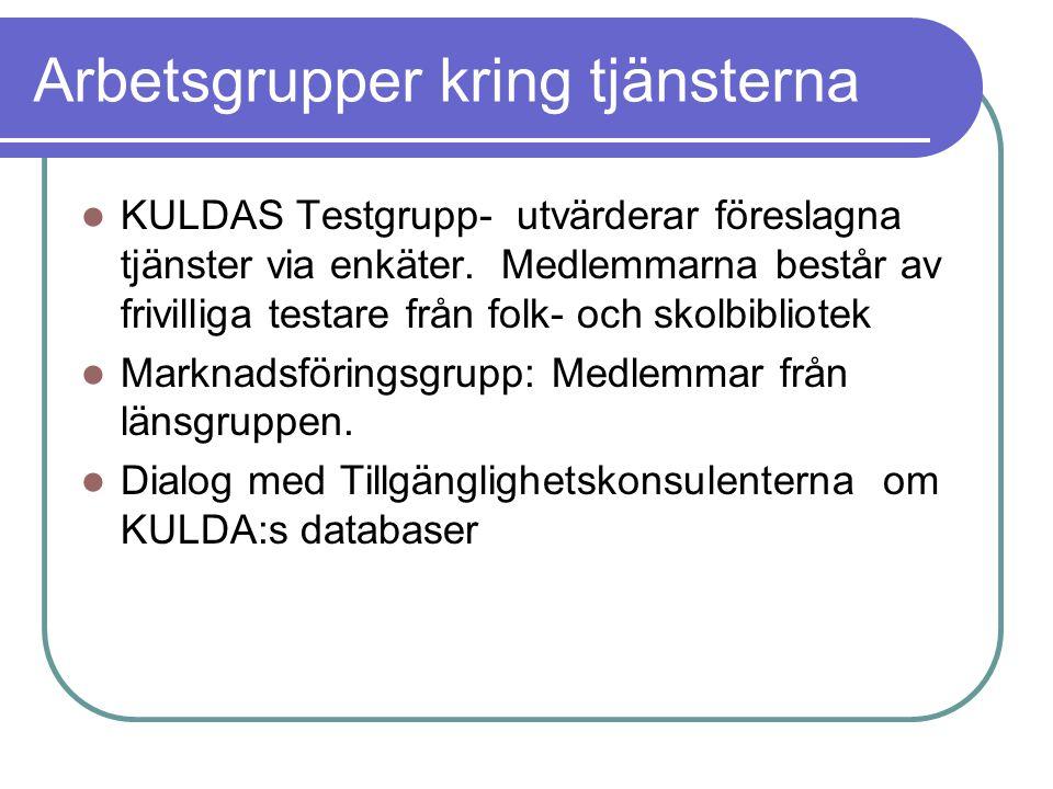 Arbetsgrupper kring tjänsterna KULDAS Testgrupp- utvärderar föreslagna tjänster via enkäter.