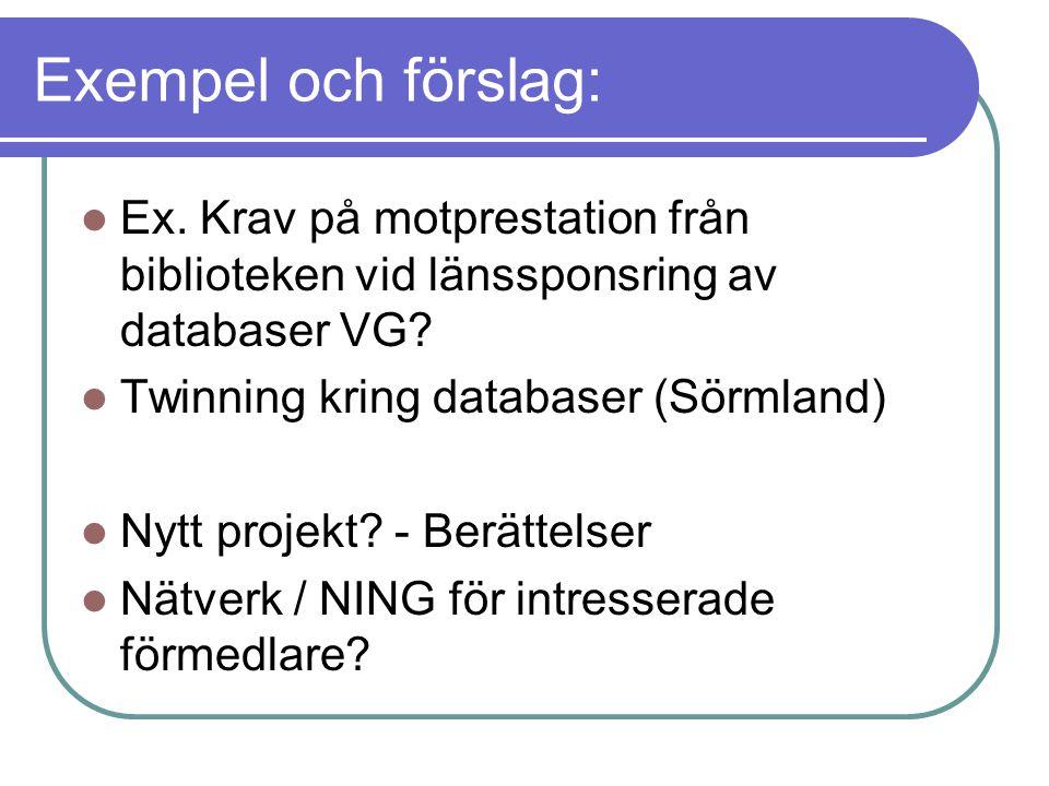 Exempel och förslag: Ex. Krav på motprestation från biblioteken vid länssponsring av databaser VG.