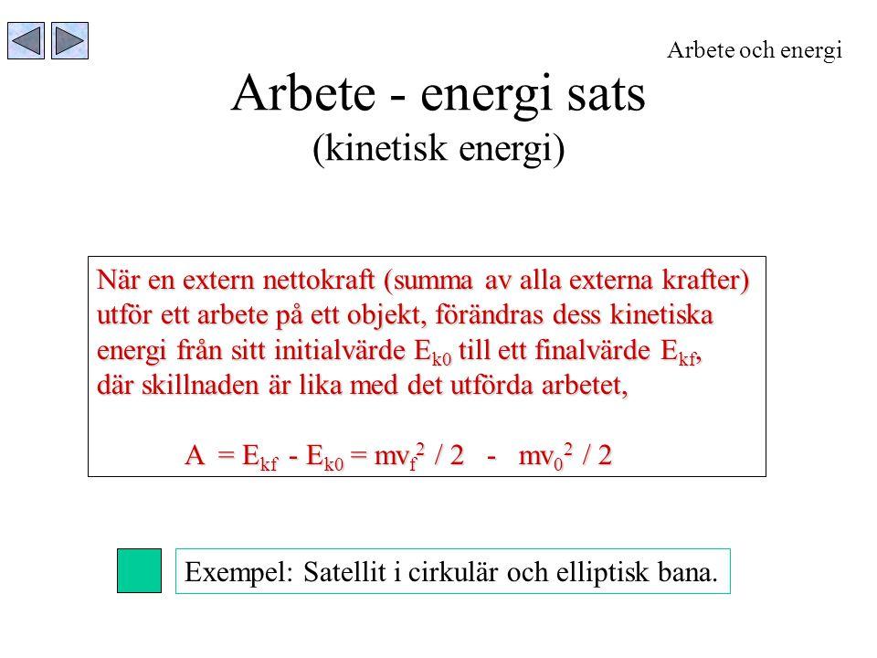 Arbete - energi sats (kinetisk energi) Arbete och energi När en extern nettokraft (summa av alla externa krafter) utför ett arbete på ett objekt, förä