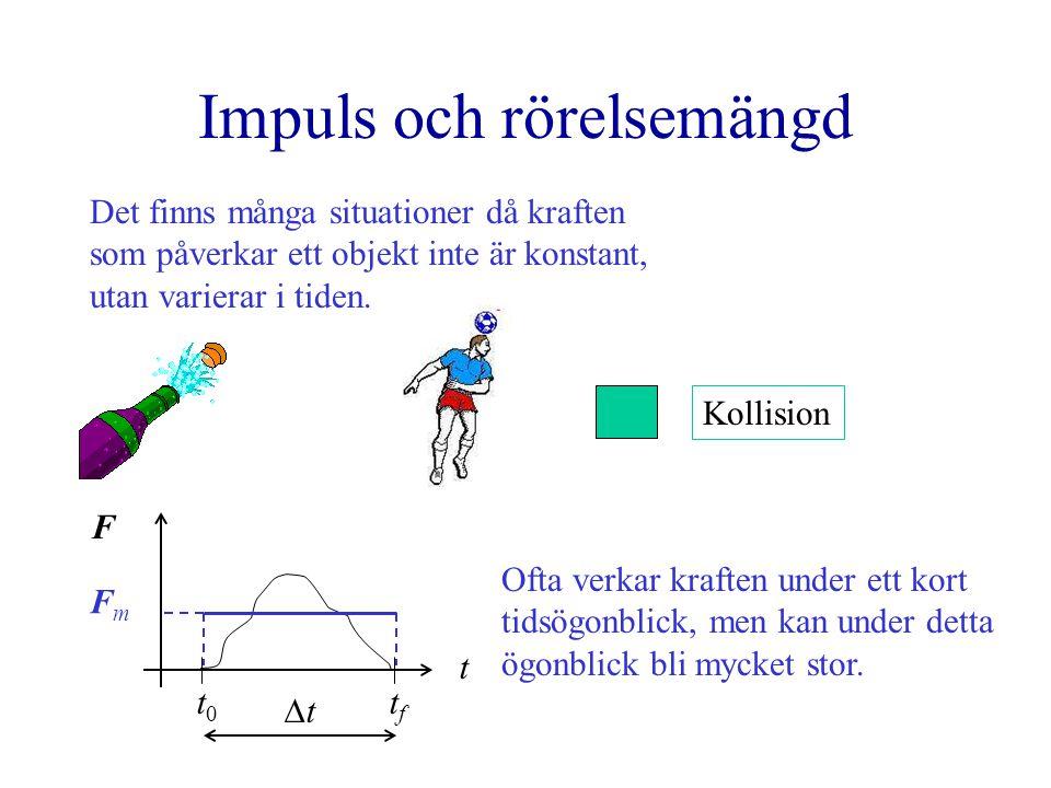 Impuls och rörelsemängd Det finns många situationer då kraften som påverkar ett objekt inte är konstant, utan varierar i tiden. F t t0t0 tftf FmFm t