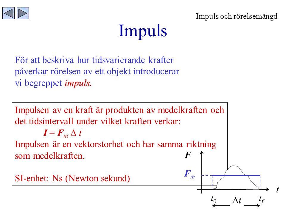 Impuls För att beskriva hur tidsvarierande krafter påverkar rörelsen av ett objekt introducerar impuls. vi begreppet impuls. Impulsen av en kraft är p