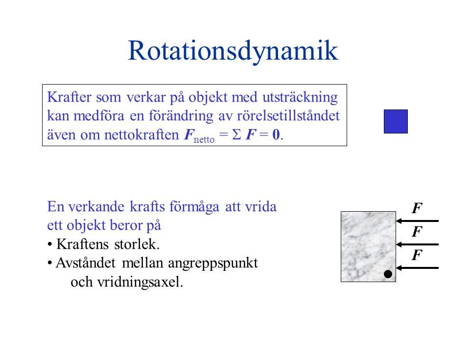 Rotationsdynamik Krafter som verkar på objekt med utsträckning kan medföra en förändring av rörelsetillståndet även om nettokraften F netto =  F = 0.