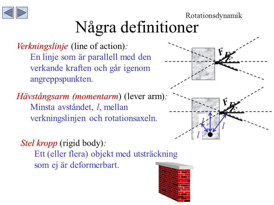 Några definitioner Verkningslinje : Verkningslinje (line of action): En linje som är parallell med den verkande kraften och går igenom angreppspunkten