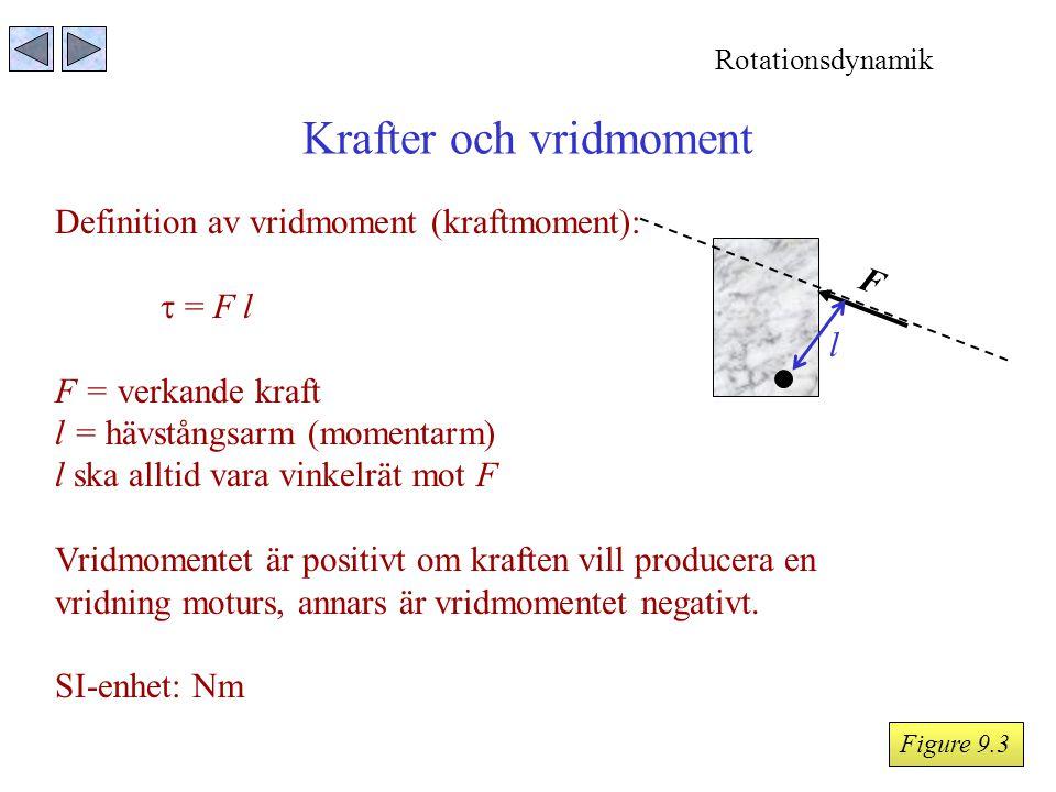 Krafter och vridmoment Definition av vridmoment (kraftmoment):  = F l F = verkande kraft l = hävstångsarm (momentarm) l ska alltid vara vinkelrät mot