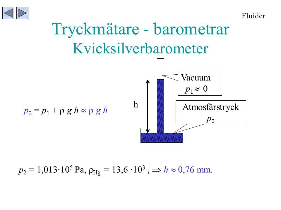 Tryckmätare - barometrar Kvicksilverbarometer Fluider Vacuum p 1  0 Atmosfärstryck p 2 h p 2 = p 1 +  g h   g h p 2 = 1,013·10 5 Pa,  Hg = 13,6 ·