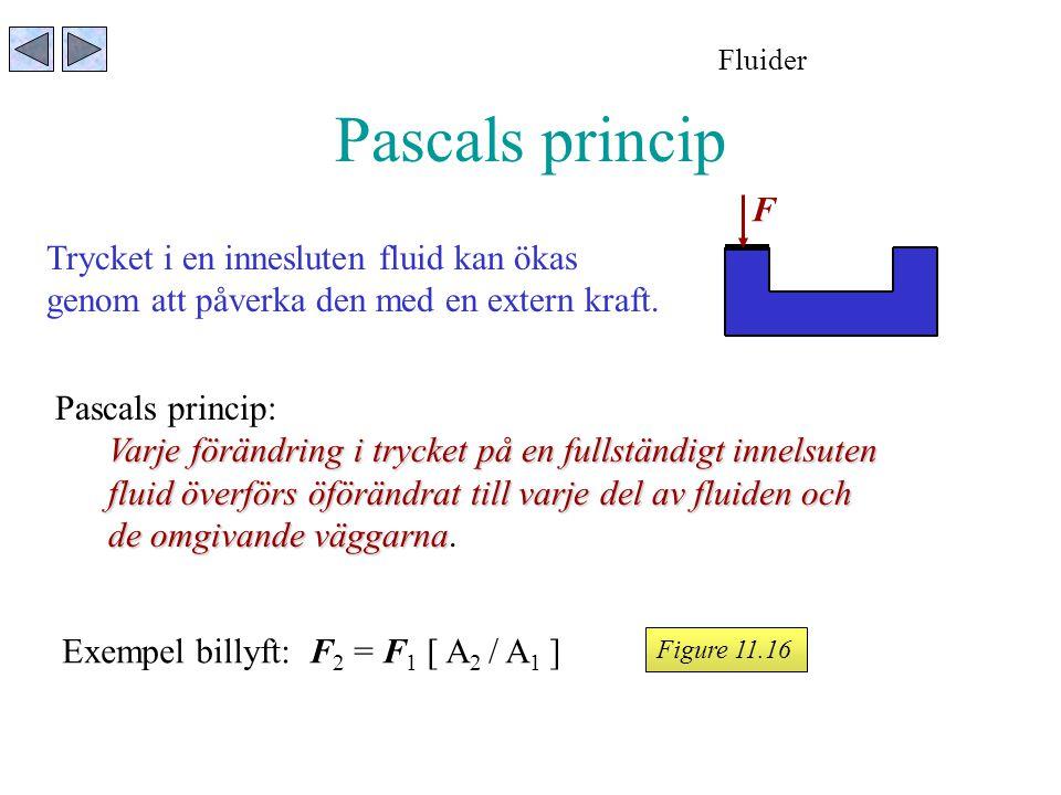 Pascals princip Fluider Figure 11.16 Trycket i en innesluten fluid kan ökas genom att påverka den med en extern kraft. F Pascals princip: Varje föränd