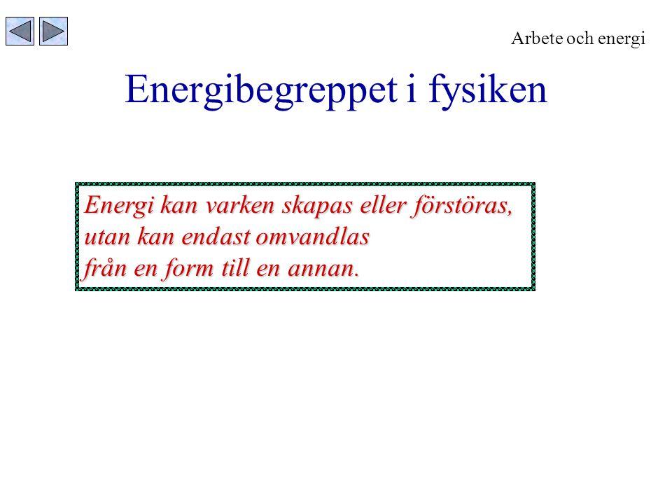 Energibegreppet i fysiken Energi kan varken skapas eller förstöras, utan kan endast omvandlas från en form till en annan. Arbete och energi