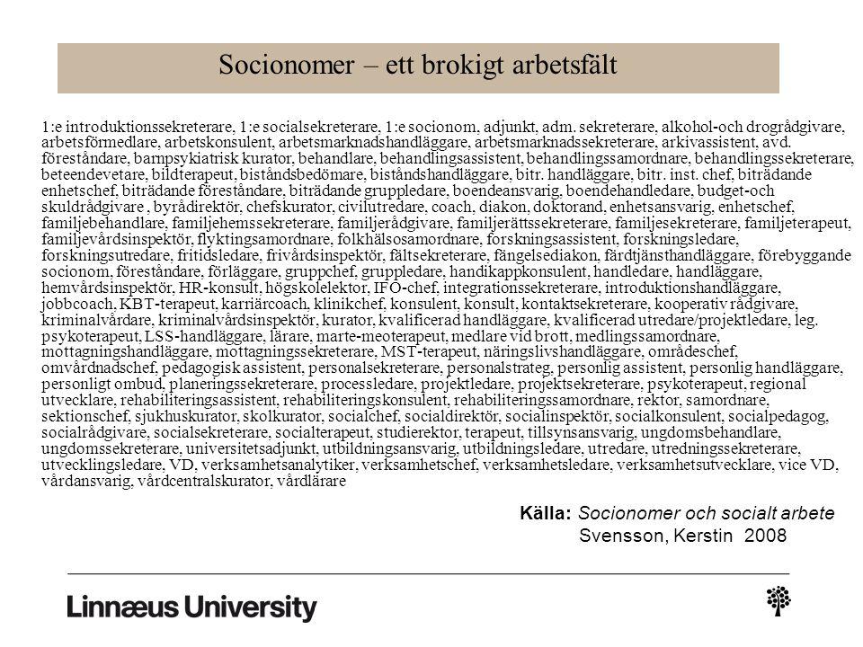 Socionomer – ett brokigt arbetsfält 1:e introduktionssekreterare, 1:e socialsekreterare, 1:e socionom, adjunkt, adm.