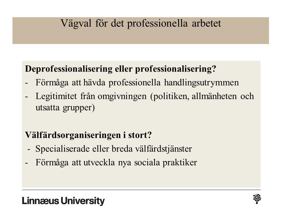 Vägval för det professionella arbetet Deprofessionalisering eller professionalisering.