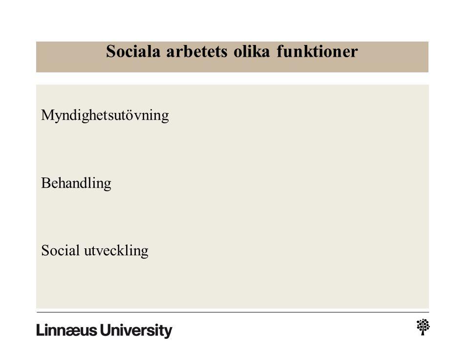 Sociala arbetets olika funktioner Myndighetsutövning Behandling Social utveckling