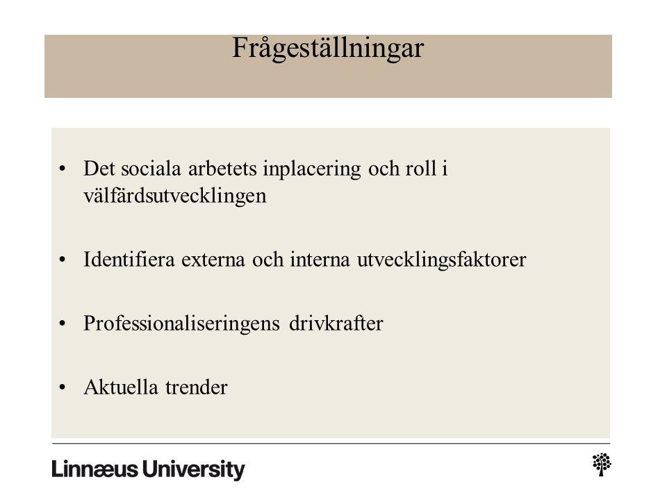 Frågeställningar Det sociala arbetets inplacering och roll i välfärdsutvecklingen Identifiera externa och interna utvecklingsfaktorer Professionaliseringens drivkrafter Aktuella trender
