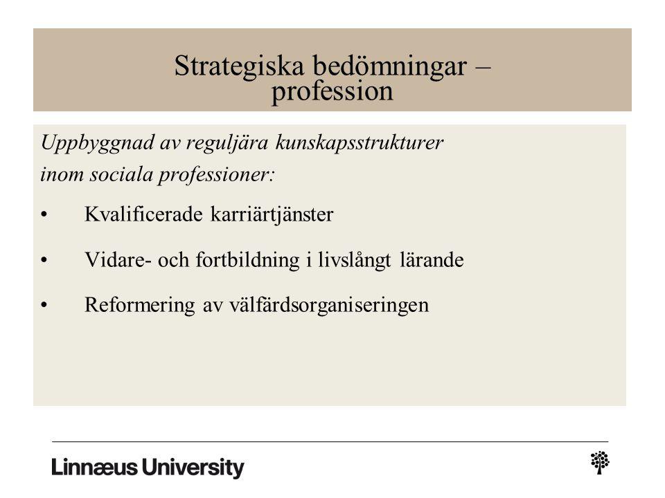 Strategiska bedömningar – profession Uppbyggnad av reguljära kunskapsstrukturer inom sociala professioner: Kvalificerade karriärtjänster Vidare- och fortbildning i livslångt lärande Reformering av välfärdsorganiseringen