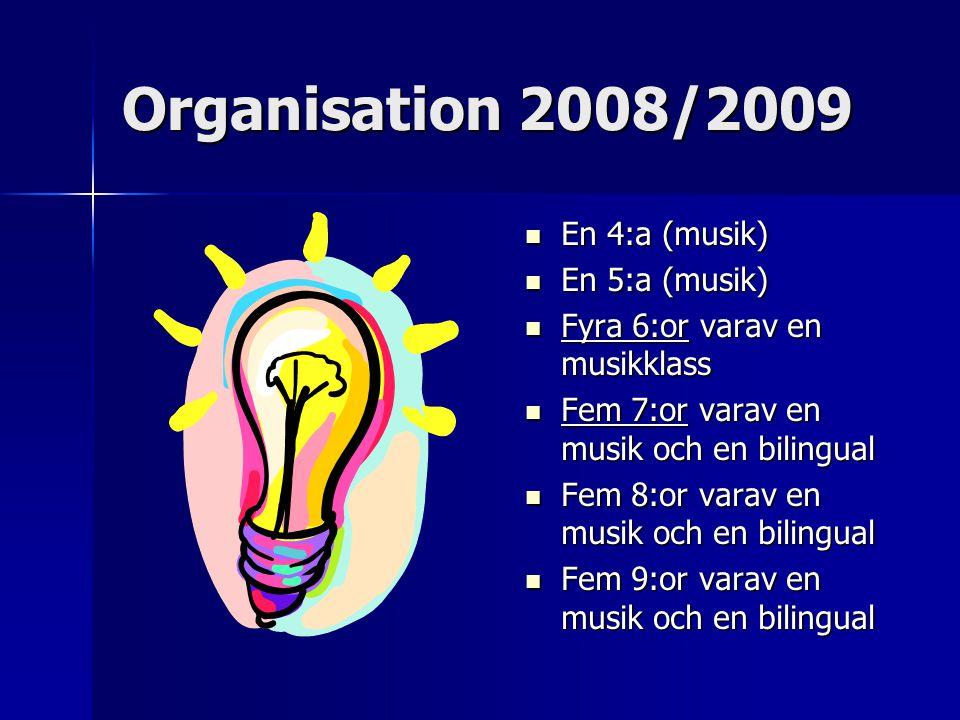 Organisation 2008/2009 En 4:a (musik) En 4:a (musik) En 5:a (musik) En 5:a (musik) Fyra 6:or varav en musikklass Fyra 6:or varav en musikklass Fem 7:or varav en musik och en bilingual Fem 7:or varav en musik och en bilingual Fem 8:or varav en musik och en bilingual Fem 8:or varav en musik och en bilingual Fem 9:or varav en musik och en bilingual Fem 9:or varav en musik och en bilingual