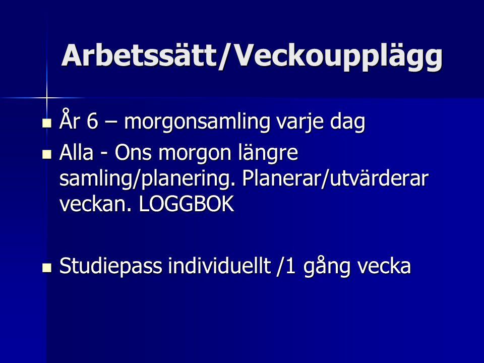 Arbetssätt/Veckoupplägg År 6 – morgonsamling varje dag År 6 – morgonsamling varje dag Alla - Ons morgon längre samling/planering.