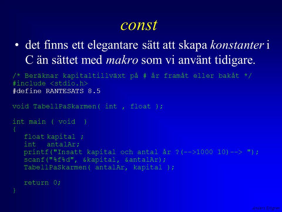 Anders Sjögren const nyckel ordet const vid variabeldefinitionen gör att värdet ej går att ändra i programmet.