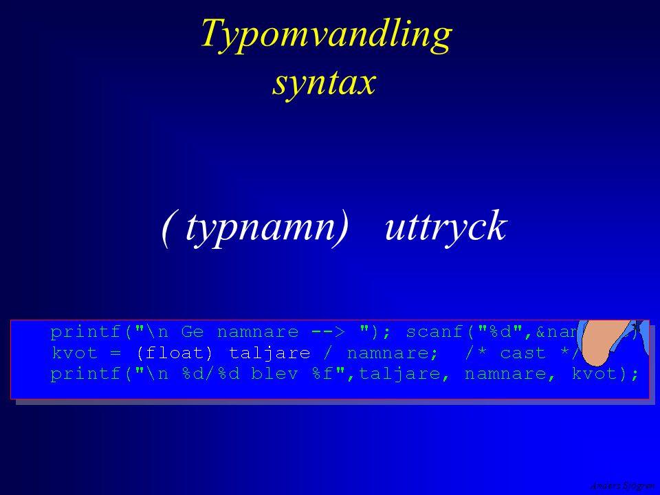 Anders Sjögren Typomvandling syntax ( typnamn) uttryck