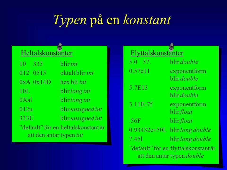 Anders Sjögren Typen på en konstant HeltalskonstanterFlyttalskonstanter 5.057.blir double 0.57e11exponentform blir double 5.7E13exponentform blir double 3.11E-7fexponentform blir float.56Fblir float 0.93432e+50Lblir long double 7.45lblir long double default för en flyttalskonstant är att den antar typen double 10 333 blir int 012 0515oktalt blir int 0xA 0x14D hex bli int 10Lblir long int 0Xalblir long int 012ublir unsigned int 333Ublir unsigned int default för en heltalskonstant är att den antar typen int