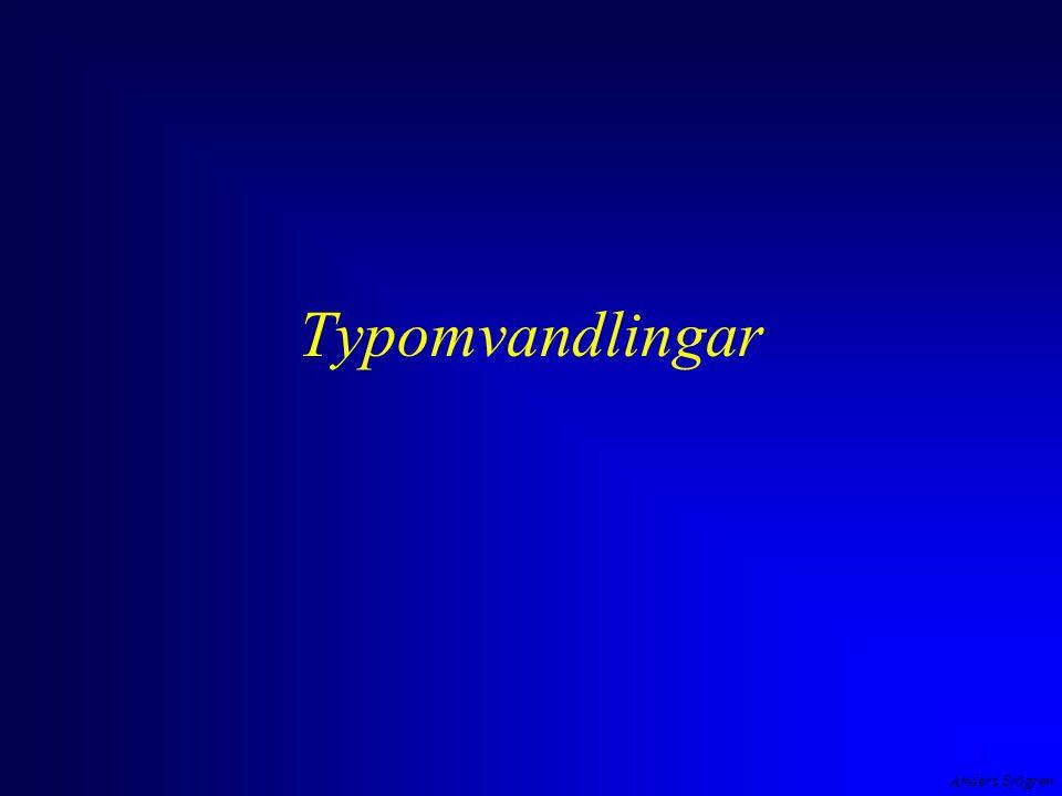 Anders Sjögren Typomvandling implicit ( automatisk ) operanderna till en operator kan omvandlas, operanderna skall vara av samma typ i + f/100 vid tilldelning omvandlas högerledet till den typ som operanden till vänster har d = i + f/100 en aktuell parameter till en funktion omvandlas för att matcha den formella parametern void TabellPaSkarmen( int, float ); int main ( void ){ intkapital ; floatantalAr; printf( Insatt kapital och antal år ?(-->1000 10)--> ); scanf( %f%d , &kapital, &antalAr); TabellPaSkarmen( antalAr, kapital ); int  float (trunkering!)