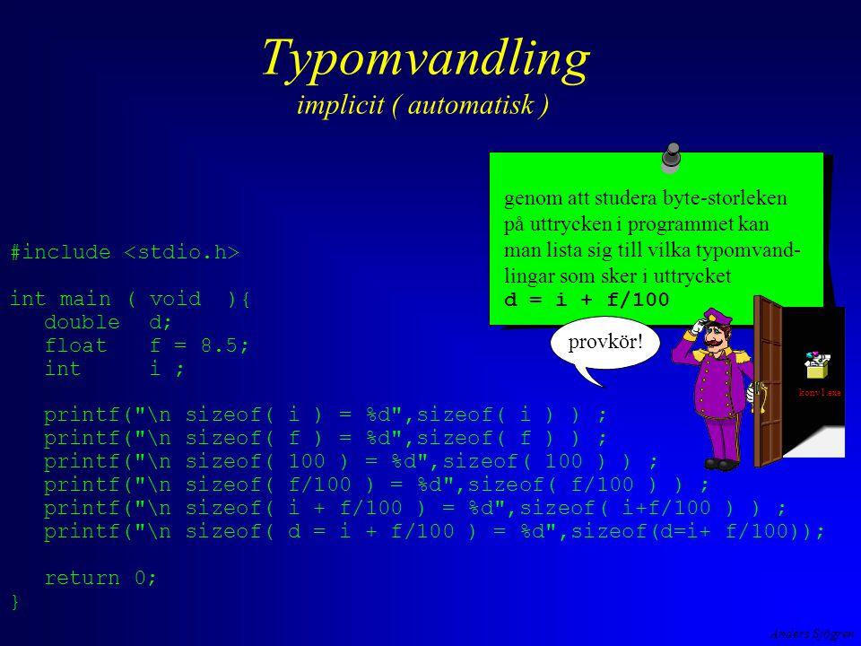 Anders Sjögren Variabeltyper vad man tänker lagra heltalstyper –teckenlösa heltal ( 2 bytes lagrar talen [0,65535] ) –heltal med tecken ( 2bytes lagrar talen [-32768,32767] –tecken i texter ( ASCII-koden i 1 byte: 1000001 B = 65 D ='A' ) –logiska värden, boolean ( =0 falskt,  0 sant ) –bitmönster ( 10011101varje bit betyder något t ex tänd eller släckt lampa flyttalstyper –de reella talen ( 3.56E-10 = 3.56 · 10 -10 ) det lagrade värdet är exakt det lagrade värdet är oftast en approximation BinärformHeltalslagringFlyttalslagring kommer ni ihåg den här bilden.
