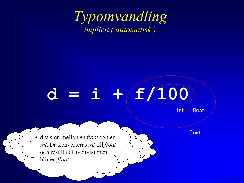 Anders Sjögren Typomvandling explicit ( av programmeraren påkalllad )( cast på engelska) exempel #include int main ( void ){ floatkvot; inttaljare, namnare ; printf( \n Ge taljare --> ); scanf( %d ,&taljare); printf( \n Ge namnare --> ); scanf( %d ,&namnare); kvot = taljare / namnare; /* int/int -> int */ printf( \n %d/%d blev %f ,taljare, namnare, kvot); return 0; } kvot1.exe hmm, hur löser man detta.