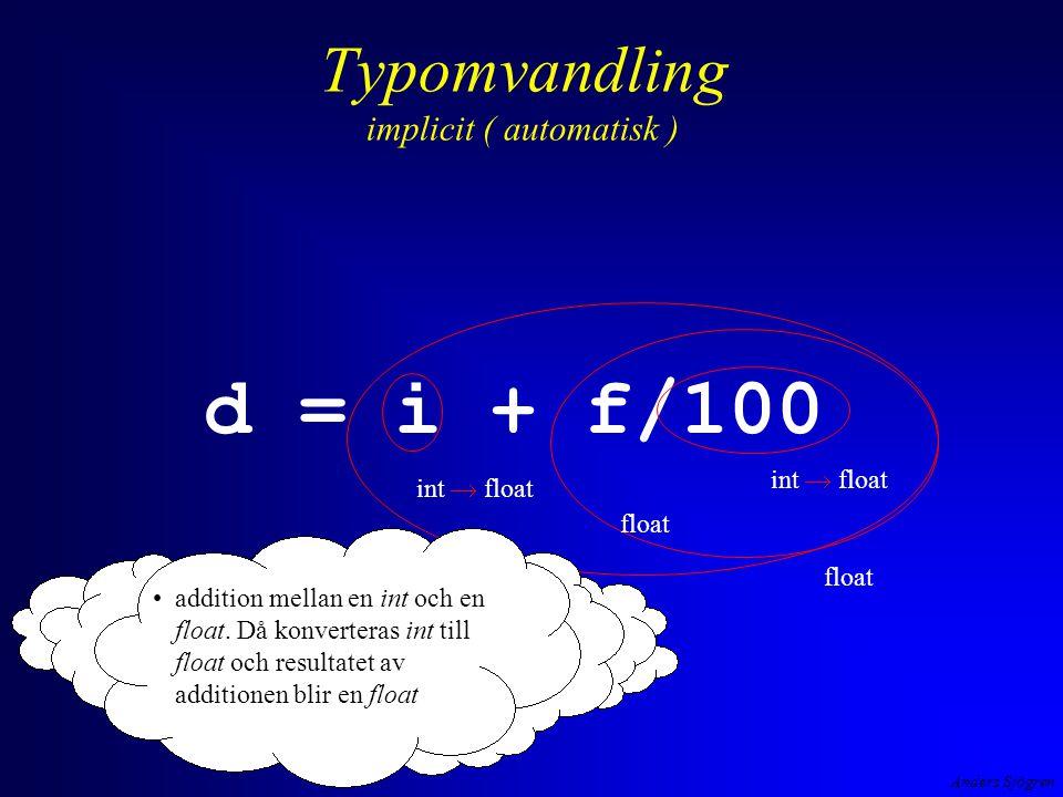 Anders Sjögren Typomvandling implicit ( automatisk ) d = i + f/100 int  float addition mellan en int och en float.