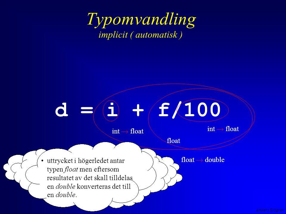 Anders Sjögren Typomvandling explicit ( av programmeraren påkalllad )( cast på engelska) exempel #include int main ( void ){ floatkvot; inttaljare, namnare ; printf( \n Ge taljare --> ); scanf( %d ,&taljare); printf( \n Ge namnare --> ); scanf( %d ,&namnare); kvot = (float) taljare / namnare; /* cast */ printf( \n %d/%d blev %f ,taljare, namnare, kvot); return 0; } kvot2.exe jahaja, man gör en explicit typomvandling av värdet fpån taljare till en float och då konverteras värdet från namnare implicit till float.