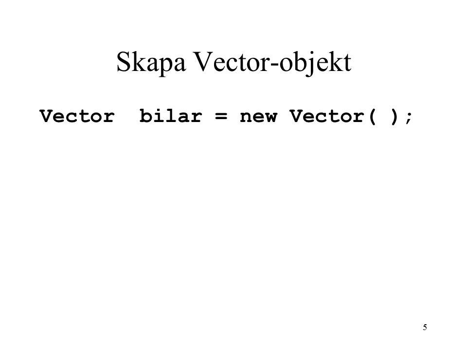 5 Skapa Vector-objekt Vector bilar = new Vector( );