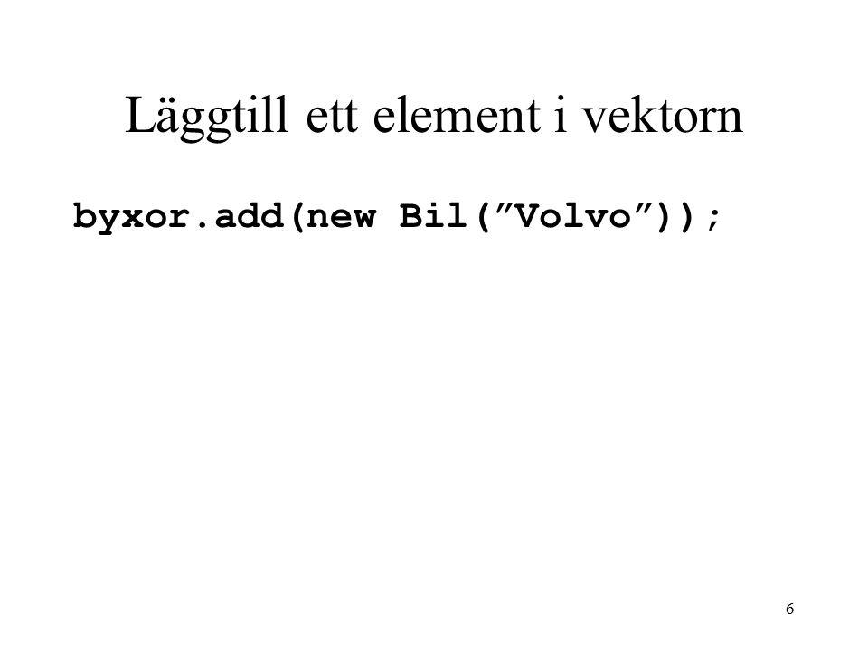 7 Komma åt ett element i vektorn Bil min = (Bil) bilar.get( 0 ); Bil pappasBil= (Bil) bilar.get(1);