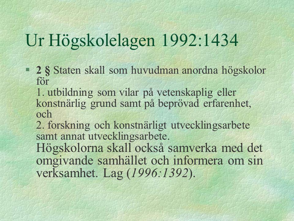 Ur Högskolelagen 1992:1434 §2 § Staten skall som huvudman anordna högskolor för 1. utbildning som vilar på vetenskaplig eller konstnärlig grund samt p
