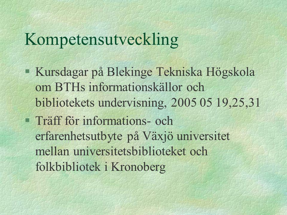Kompetensutveckling §Kursdagar på Blekinge Tekniska Högskola om BTHs informationskällor och bibliotekets undervisning, 2005 05 19,25,31 §Träff för inf