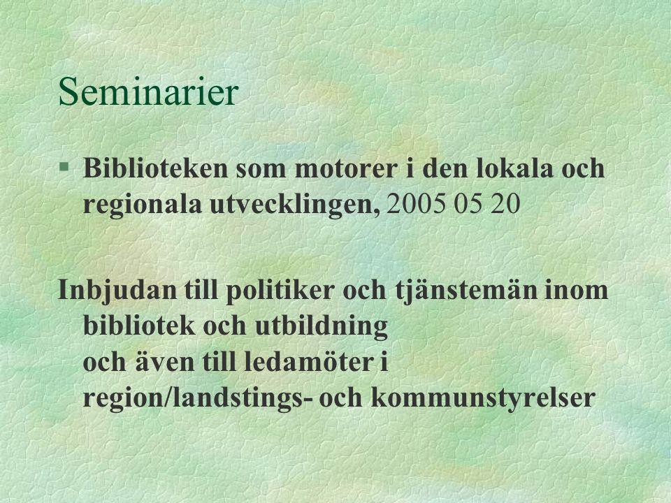 Seminarier §Biblioteken som motorer i den lokala och regionala utvecklingen, 2005 05 20 Inbjudan till politiker och tjänstemän inom bibliotek och utbi
