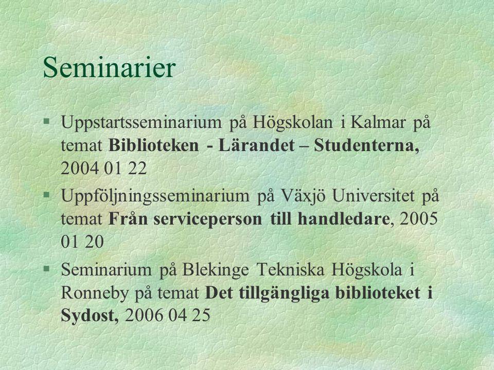 Seminarier §Uppstartsseminarium på Högskolan i Kalmar på temat Biblioteken - Lärandet – Studenterna, 2004 01 22 §Uppföljningsseminarium på Växjö Unive