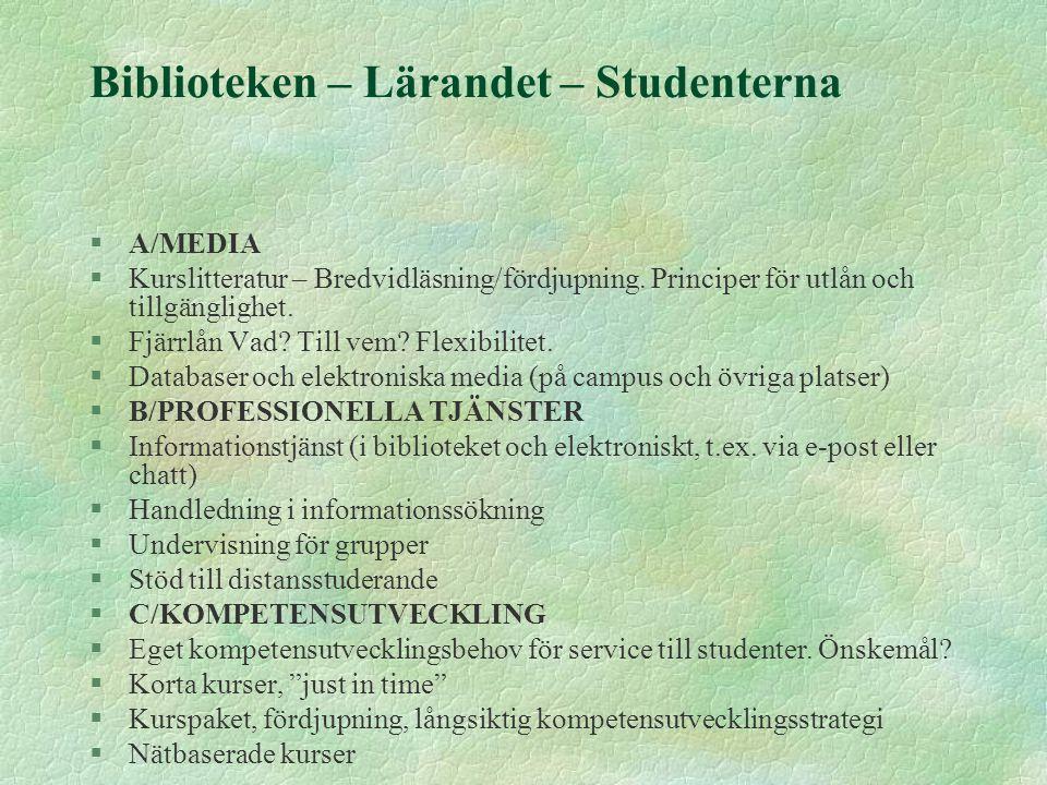Biblioteken – Lärandet – Studenterna §A/MEDIA §Kurslitteratur – Bredvidläsning/fördjupning. Principer för utlån och tillgänglighet. §Fjärrlån Vad? Til