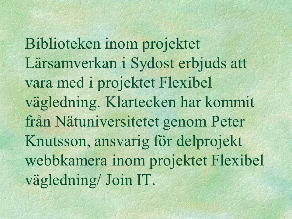 Biblioteken inom projektet Lärsamverkan i Sydost erbjuds att vara med i projektet Flexibel vägledning. Klartecken har kommit från Nätuniversitetet gen