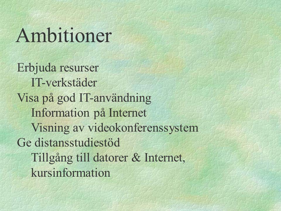 Ambitioner Erbjuda resurser IT-verkstäder Visa på god IT-användning Information på Internet Visning av videokonferenssystem Ge distansstudiestöd Tillg
